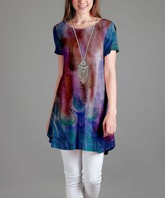 Red & Blue Abstract Swing Tunic - Plus Too