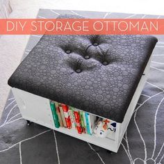DIY Storage Ottoman with Wheels I'd like to make something kinda like this. Easy to move coffee table when I want to work out.