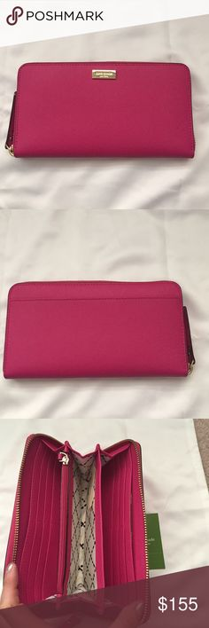 NWT Kate spade hot pink wallet New with tags Kate spade hot pink wallet. Inside has 12 card slots and is very spacious. Wallet is about 7.5 inches across and 4 inches tall. kate spade Bags Wallets