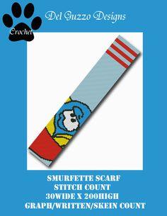 (4) Name: 'Crocheting : Smurfette Smurf Scarf Crochet Graph