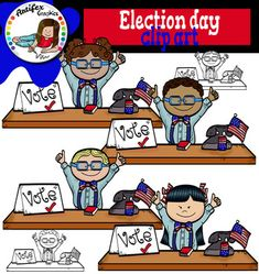 Election Day clip art set contains 8 image files, which includes 4 color images and 4 black & white images in png.This clipart license allows for personal, educational, and commercial small business use. If using commercially, or in a freebie, a link to my store is required.