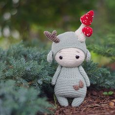 "Hello, who is interested in testing my English pattern from ""Fungo the Forest Gn. : Hello, who is interested in testing my English pattern from ""Fungo the Forest Gnome ""? 🍄🍃 Pattern/Anleitung [German] 👉🏼 in my Etsy Shop… Crochet Patterns Amigurumi, Amigurumi Doll, Crochet Dolls, Knitting Patterns, Amigurumi Tutorial, Embroidered Christmas Ornaments, Ornament Pattern, Crochet Mignon, Stuffed Animal Patterns"