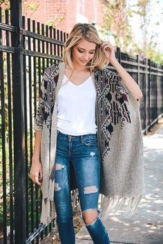 Women Fashion Heather Argyle Knit Ruana