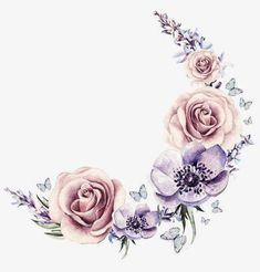 Hand-Painted watercolor wreath, watercolor clipart, painted, watercolor p. Motif Floral, Floral Border, Cartoon Flowers, Flower Backgrounds, Flower Frame, Fabric Painting, Flower Tattoos, Clipart, Watercolor Flowers
