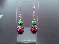Metallic Glass Christmas Earrings  Handmade by MishMashBeads, $10.00