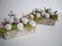 """Cinderella Moments"" - a BEAUTIFUL online shop for mini/dollhouse items (AND dollhouses!)  Go check her out on Etsy (or her blog) if you like anything DOLLHOUSE related.  You won't be sorry.  Two Large Shabby Chic Flower Window Boxes 1 by cinderellamoments, 26.00"