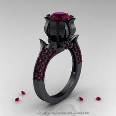 Classic 14K Black Gold 1.0 Ct Garnet Solitaire by artmasters, $2059.00