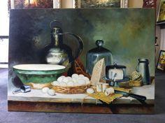 Echt bijzonder, een stilleven in heel groot formaat 100x140cm geschilderd. Een schilderij met eenvoud maar toch een gezellig schilderij voor in de keuken. Handmade by MyPainting http://www.mypainting.nl/