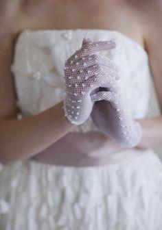 Ruche wedding gloves
