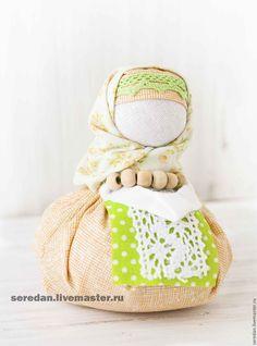 Купить Народная кукла хозяюшка-благополучница - бежевый, зеленый, кукла, кукла ручной работы