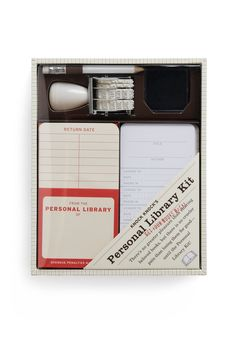 Check Me Out Library Kit | No one's shelf of books can 'stack' up to your legendary personal library! Packed with page-turning novels, retro recipe books, and rare first editions, your collection is for too special to share without this petite kit of proper cataloguing supplies.