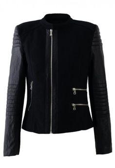 Felt Wool Motorbike Jacket with Faux Leather Sleeves