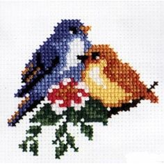 Use colors for birds in set Mini Cross Stitch, Simple Cross Stitch, Cross Stitch Rose, Cross Stitch Borders, Cross Stitch Animals, Modern Cross Stitch, Cross Stitch Flowers, Cross Stitch Designs, Cross Stitching