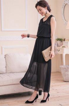 歐美氣質雪紡縮腰長洋裝   Classic black maxi dress, beautiful and elegant.