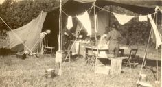 1930s:  Camping.  Lac Pemichangan, Quebec. These photos are from the Martin family photo album from the 1920s through the 1950s. Wilbur and Wanda Martin travelled frequently to Lac Pemichangan from their home in Athens, Ohio, starting sometime in the 1920s. During that time, the Martin and the Knight families hunted, fished, camped and worked together to build some of the earliest cabins on the lake. | blacksdesign.com