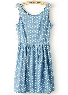 Blue Sleeveless Polka Dot Pleated Denim Dress