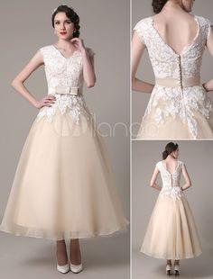 Champagne Wedding Dress A-Line V-Neck Lace Applique Organza Tea Length Bridal Dress With Sash Bow