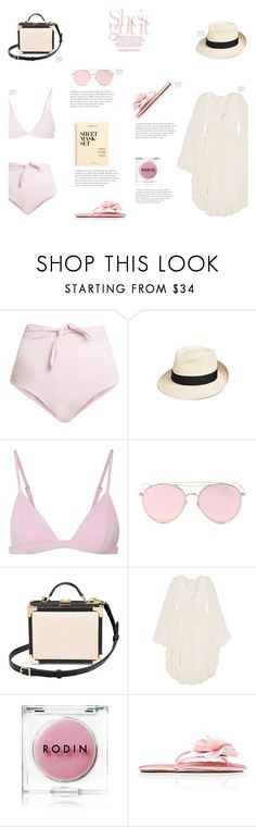 """Mustique"" by canvas-moods ❤ liked on Polyvore featuring Mara Hoffman, Eric Javits, LMNT, Aspinal of London, Chloé, Rodin, Miu Miu and J.Crew"