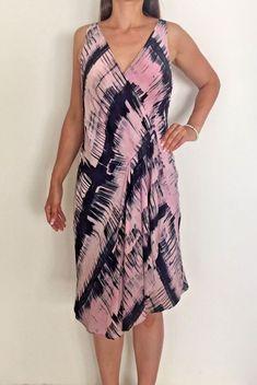 ae97a73e171 SABA Pink Navy Blue 100% Silk Wrap Style Designer Midi Dress Sz AU 12 Work