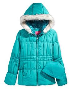 London Fog 2-Pc. Heavyweight Puffer Jacket & Fleece Hat Set, Girls (7-16) - Coats & Jackets - Kids & Baby - Macy's