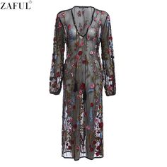 ZAFUL Sexy Women Dress Deep V neck Embroidery Dresses Balck Casual Basic Feminino Vestidos Mesh Floral Embroidered Sheer Dress
