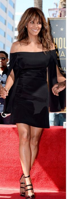 Who made  Halle Berry's black off the shoulder dress and patent pumps?