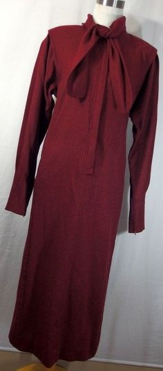 VTG Ungaro Parallele dress 10 12 cranberry red scarf classic l/s wool womens H6 #Ungaro #Shift #WeartoWork