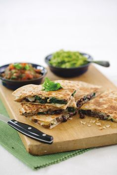 Family-friendly black bean spinach quesadillas make for a delicious and quick meatless Monday meal. This recipe, courtesy of the Calories In, Calories Out Cookbook, calls for black beans, fresh bab...