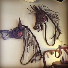 Rustic Metal Horse Heads!  Cool Art!