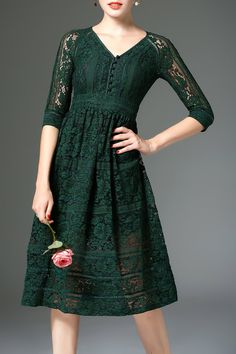 H: Good color, pattern, style (Floral Lace Fit and Flare Dress)