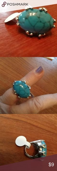 Nwt Turquoise and silver ring. Sz 6 Nwt Chunky and impressive silvertone ring. Turq stone. Sz 6 Jewelry Rings