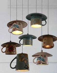 Lighting - Vintage ceramic Tea cup Pendant lights You are in the right place about DIY Lighting hanging Here we offer you the most beautiful pictures about the DIY Lighting creative you are look Vintage Diy, Vintage Style, Vintage Globe, Vintage China, Vintage Lighting, Rustic Lighting, Interior Lighting, Kitchen Lighting, Vintage Light Fixtures