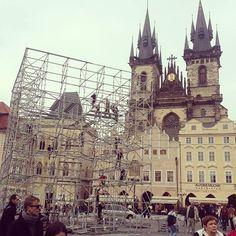 HyperCube, making of, Old Town Square, Prague #signalfestival #architecture #prague #lightart, #installation #videomapping www.signalfestival.com