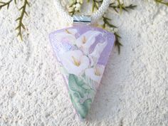 OOAK Handmade Necklace, OOAK Necklace, Dichroic Necklace, Calla Lily Necklace, Fused Glass Necklace, Dichroic Jewelry, ccvalenzo, 031220p106 Cat Necklace, Glass Necklace, Dichroic Glass Jewelry, Lavender Green, Calla Lily, Handmade Necklaces, Crystals, Etsy, Crystals Minerals