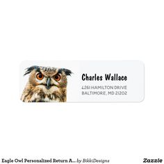 Shop Eagle Owl Personalized Return Address Labels created by BikkiDesigns. Personalized Return Address Labels, Address Label Template, Owl Photos, Customized Gifts, Owls, Gift Tags, Eagle, Awesome, Fun