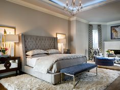 a light grey bedroom with much texture and a single navy accent - an upholstered bench - DigsDigs Light Gray Bedroom, Sage Green Bedroom, Gray Bedroom Walls, Oak Bedroom, White Bedroom, Master Bedrooms, Grey Walls, Small Modern Bedroom, Stylish Bedroom