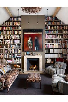 Modern Living Room with Floor-to-Ceiling Bookcases in living room design ideas. Living room with alcove library bookshelves, fireplace, modern art and lighting, comfortable sofas. Floor To Ceiling Bookshelves, Library Bookshelves, Bookshelf Ideas, Bookcases, Alcove Bookshelves, Bookshelf Wall, Cosy Fireplace, Fireplace Modern, Interior Exterior