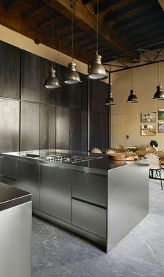 Brick wall, Stainless Steel Kitchen cabinets … | stainless steel and ...