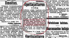Nyt on opettajilla mistä valita! Opettajanvirkoja on 1900-luvun alussa paljon tarjolla ympäri Suomea. Kiitos keisari Nikolai II:n ja valtiopäivien vuonna 1898 hyväksymän piirijakoesityksen, jonka mukaan kaikki pitäjät on jaettava koulupiireihin.
