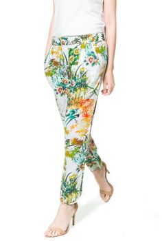 White Loose Pockets Green Floral Pant