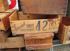 vintage wood boxes at the Country Living Fair