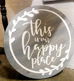 Items similar to This Is Our Happy Place - Hand Lettered Circle Wood Sign - Rustic Farmhouse Wall Decor on Etsy Wooden Door Hangers, Wooden Doors, Diy Wood Projects, Wood Crafts, Farmhouse Wall Decor, Rustic Farmhouse, Wood Circles, Diy Wood Signs, Diy Holz