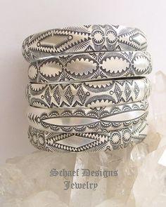 ༻✿༺ ❤️ ༻✿༺ Vincent Platero, VJP, sterling silver hand stamped bangle bracelets | Schaef Designs Jewelry ༻✿༺ ❤️ ༻✿༺