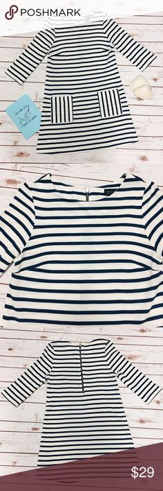 TOPSHOP Nautical Dress Gently loved in excellent condition white and blue stripes dress. Two pockets at front. Zipper on back. Crafted from 100% acrylic. Wash with similar colors. Measurements approx: total length 32in; sleeve 17in; cheats 17.2in; hips 18.9in. Topshop Dresses Mini