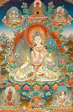 Blue tara tara pinterest buddhist art divine feminine and tibetan buddhist goddess white tara goddess of long life thangka tibetan thangka painting fandeluxe Images