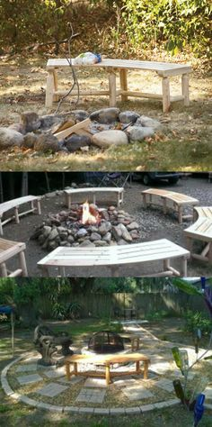 Comfy cedar benches wrap around the campfire. Easy to assemble with pre-drilled holes!
