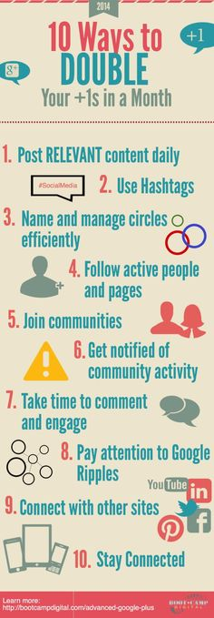 10 Really Easy Tips to Double Your Google Plus +1's in Just a Month #googleplus #infographic