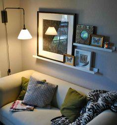 Shelves behind sofa