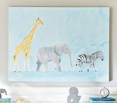 Beautiful watercolor.  This would look great in our animal-theme room!  Safari Animals Caitlin McGaully Art #pbkids