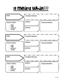 Vocabulary break down graphic organizer-free download